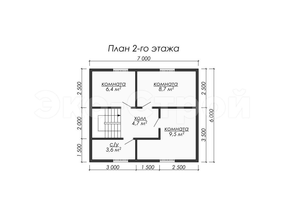 Дом из бруса ДУ 080 план 2 эт