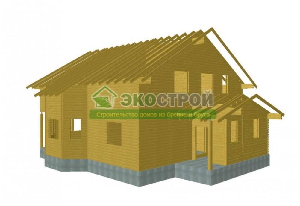 Дом из бруса ДУ 082 пробрусовка вид 3