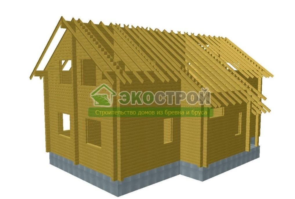 Дом из бруса ДУ 083 пробрусовка вид 2