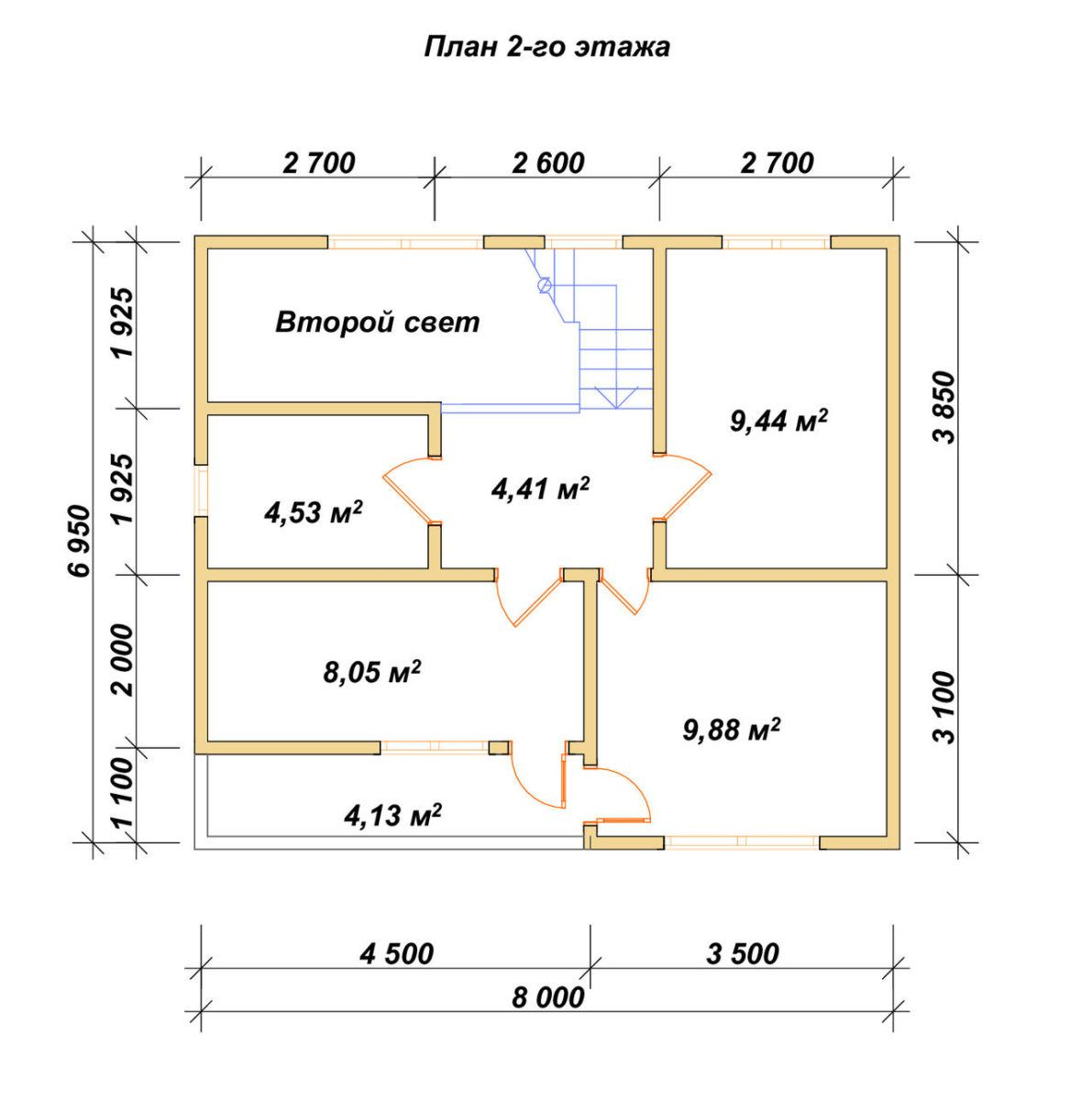 Дом из бруса ДУ 085 план 2 эт
