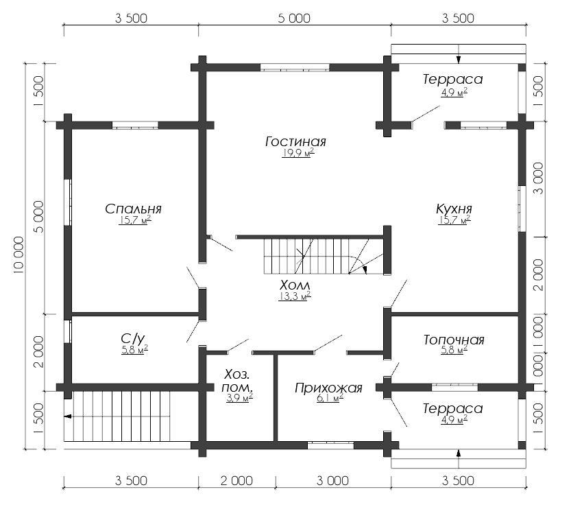 Дом из бруса ДУ 081 план 1 эт
