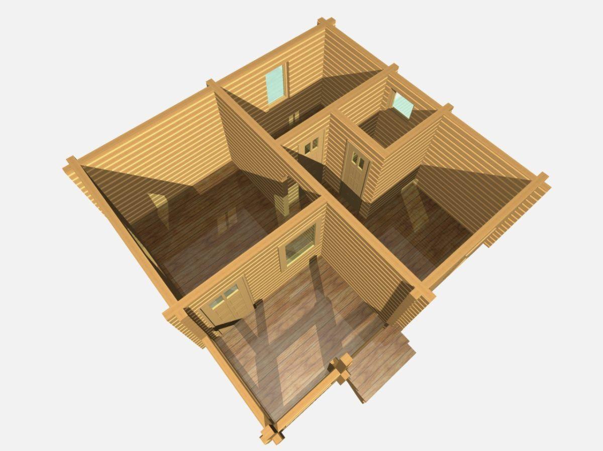 Баня из бруса БУ 021 план 3D
