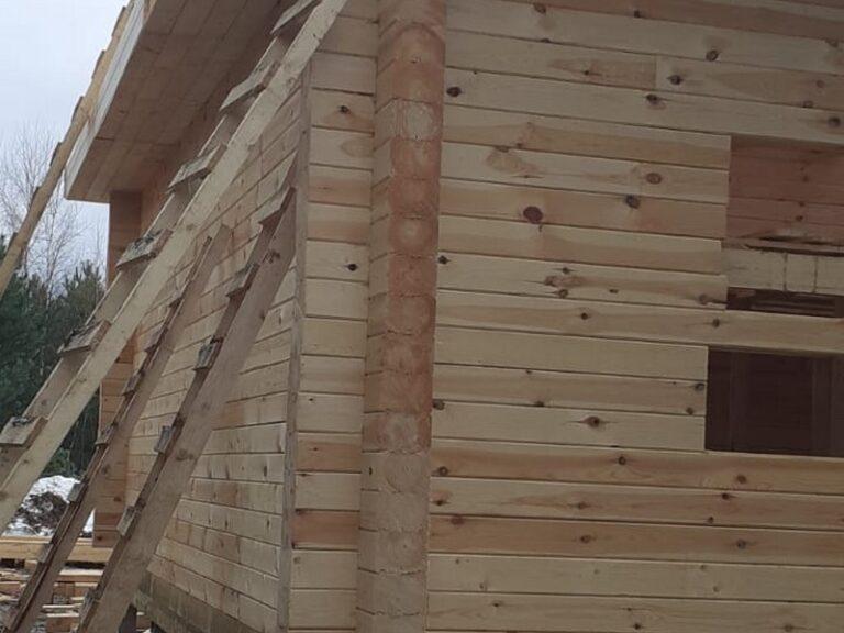 Строительство дома из проф бруса 195х145мм с террасой в Тульской области